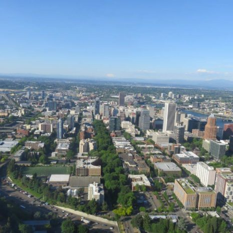 Portland park blocks from Oregon Helicopters